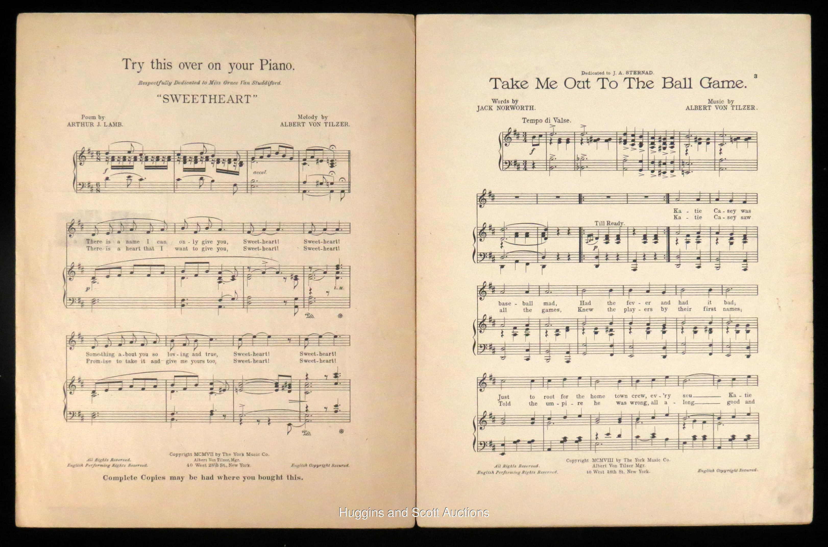 1908 Take Me Out To The Ball Game First Edition Sheet Music